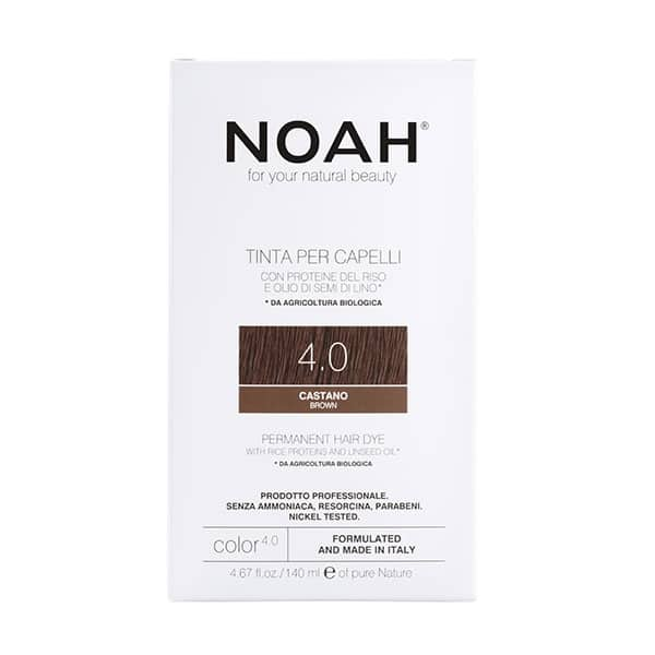 NOAH - Permanent Hair Colour with rice protein & linseed oil, 140 ml - 4.0 Brown