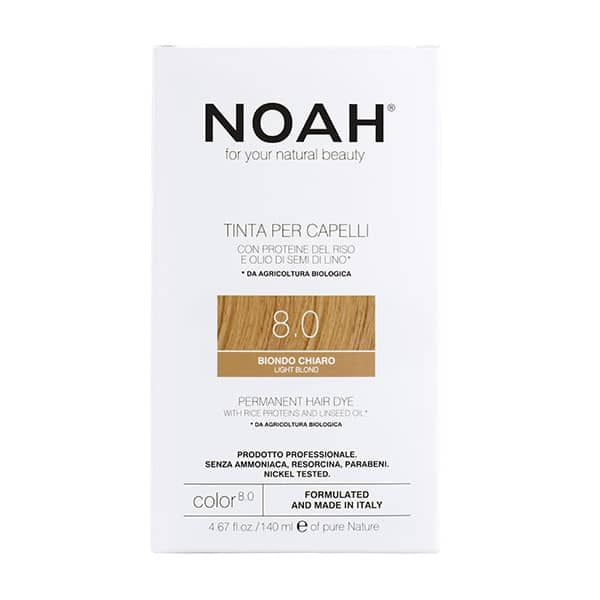 NOAH - Permanent Hair Colour with rice protein & linseed oil, 140 ml - 8.0 Light Blond